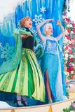 Elsa and Ana singing from Frozen of Walt Disney. Elsa and Ana from the animated movie Frozen of Walt Disney Pictures Royalty Free Stock Photo