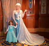 Elsa and beautiful girl - Disney movie Frozen - Magic Kingdom Stock Images