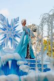 Elsa of Frozen fame on float in Disneyland Parade Royalty Free Stock Images