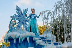 Elsa of Frozen fame on float in Disneyland Parade Stock Photo