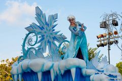 Elsa of Frozen fame on float in Disneyland Parade Royalty Free Stock Image