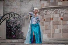 Elsa on Mickey`s Royal Friendship Faire on Cinderella Castle in Magic Kingdom at Walt Disne