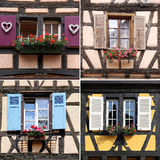 Elsass-Architektur: Fenster, Collage Stockfotografie