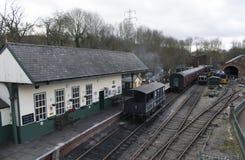 Elsecar arvjärnvägsstation & bussgarage, Elsecar, Barnsley, händelse för South Yorkshire 19th Februari 2017 vintervärmeapparat Royaltyfri Fotografi
