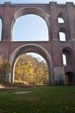 Elstertalbrucke在普劳恩市附近的砖桥梁在Vogtland地区在萨克森 免版税库存照片