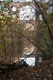 Elstertalbrucke med den Weisse Elster floden nära Plauen Arkivbild