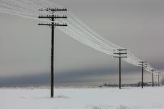 Elströmlinjer med rimfrost på de träelektriska polerna på bygd i vintern, Arkivfoto