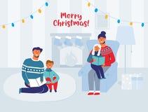 Eltern-Lesebücher mit Kindern auf Weihnachtsabend zu Hause Winterurlaub-glückliche Charaktere nahe Kamin stock abbildung