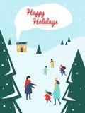 Eltern und Kinder, die draußen mit Schnee am Skiort spielen lizenzfreie abbildung