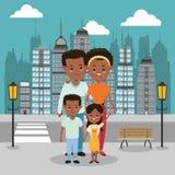 Eltern- und Kinderikone Familiendesign Der Kremlin wird im Fluss reflektiert lizenzfreie abbildung