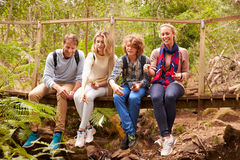 Eltern und Teenagerspielen, sitzend auf einer Brücke in einem Wald Stockfotografie