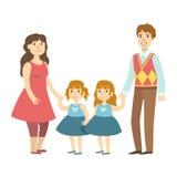Eltern und zwei kleine Doppeltöchter, Illustration von der glücklichen liebevollen Familien-Reihe lizenzfreie abbildung