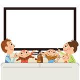 Elternteil und Kind, zum von Fernsehen zu sehen Stockbilder