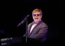 Elton John. Music singer and composer sir Elton John performing in the island of Majorca, Spain Stock Images