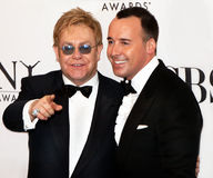 Elton John und David Furnish Stockbild