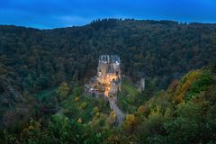 Eltz Castle at dusk, Germany stock photo