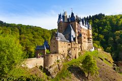 Eltz castle gates and fortification side view. Muenstermaifeld, Mayen-Koblenz, Rhineland-Palatinate, Germany Europe Stock Photos