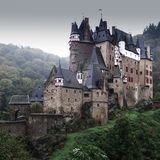 Eltz castle in Germany on a grey rainy day. stock photo