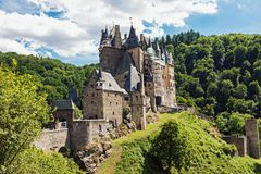 Eltz Castle in Germany on sunny summer day stock photography