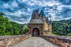 Eltz Castle in Rhineland-Palatinate, Germany. Beautiful landscape with medieval architecture stock photos