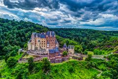 Eltz Castle in Rhineland-Palatinate, Germany. Beautiful landscape with medieval architecture stock photo