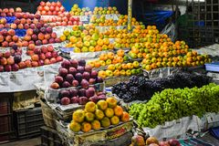 Oranges and apples for sale marketplace royalty free stock image