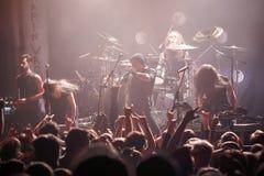 Eluveitie performing live at club. KIEV, UKRAINE - FEBRUARY 17, 2015 - Swiss folk metal band from Winterthur Eluveitie performing live at club on February 17 Stock Photo