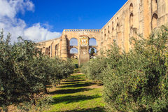 Elvas, Alentejo, Portugal. Aqueduto da Amoreira, (Aqueduct), built between 1498 and 1622 to provide water to the fortified town of Elvas Royalty Free Stock Images