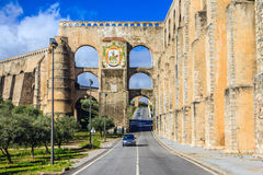 Elvas, Alentejo, Portugal. Aqueduto da Amoreira, (Aqueduct), built between 1498 and 1622 to provide water to the fortified town of Elvas Stock Photography