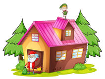 Elve and santa claus Stock Images