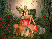 Elven beautiful woman with flute. Elven beautiful woman in fairytale forest sits on a mushroom and plays on flute 3D illustration render Stock Photos