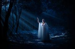 Elven dziewczyna przy lasem Zdjęcia Royalty Free