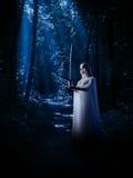 Elven dziewczyna z kordzikiem przy noc lasem Zdjęcia Royalty Free