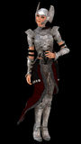 Elven female knight. Female elf in ornate silver armour isolated on black Stock Images