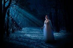 Elven flicka i skog Royaltyfri Fotografi