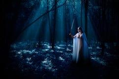 Elven flicka i skogen Fotografering för Bildbyråer