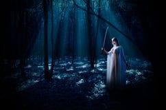 Elven flicka med svärdet på nattskogen Arkivfoton
