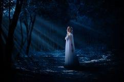 Elven flicka på nattskogen Arkivbild