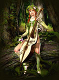 Elven Forest. A forest nymph makes music Stock Image