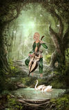 The Elven Forest. A beautiful Elf play chello in the forest. Swans swimming in the river and magic butterflies flying around Royalty Free Stock Photos
