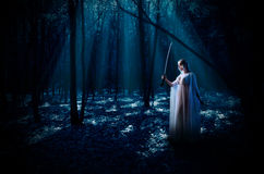 Elven girl with sword at night forest Stock Photos