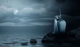 Elven girl with sword on sea coast Royalty Free Stock Photo
