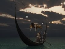 Elven Gondola. Female elf navigates lake in gondola by lamplight as the sun sets Stock Photo