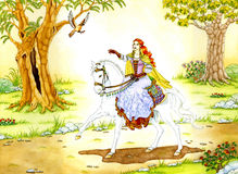 Elven Lady on white Horse Royalty Free Stock Image