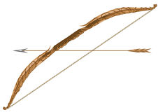 Elven longbow and arrow. Isolated on a white background Royalty Free Stock Photography
