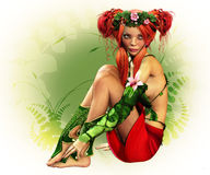 Elven Maiden. A fairylike girl with wreath and elven dress Stock Photos
