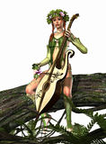 Elven Nymph. A forest nymph makes music Royalty Free Stock Photo
