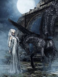 Elven princess and black winged horse Stock Photography