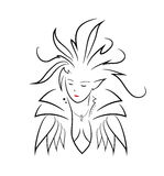 Elven Queen. A hand drawn vector illustration of an elven queen,  on a white background Stock Photo
