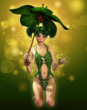 Elven Sparks. A fairylike girl with parasol and elven dress Stock Photos